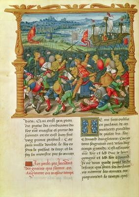 Ms 18 f.73v King Edward III Waging War at the Battle of Crecy in 1346, from the Memoirs of Philippe of Commines