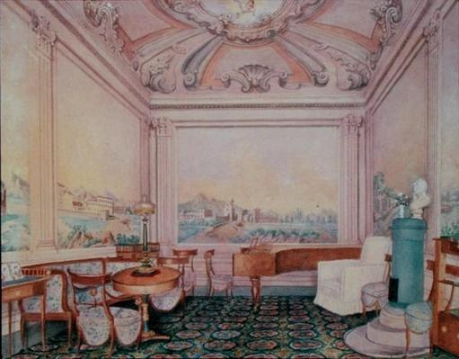 Interior of the reception room in a manor house, 1840-50s