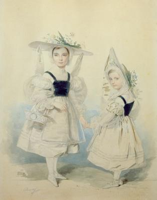 Portrait of the Grand Princesses Olga and Alexandra in Fancy Dress, 1830s