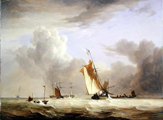 Fishing Smack and other Vessels in a Strong Breeze, 1830
