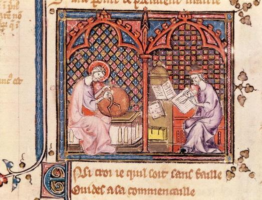 Ms 1044 Fol.16v The Word, Creator of the World and The Author Writing His Book, from Ovide Moralise written by Chretien Legouais