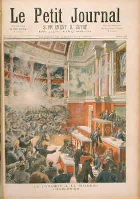 Dynamite Explodes in the Chamber of Deputies, front cover of 'Le Petit Journal' 23rd December 1893