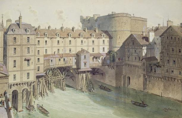 View of Petit Chatelet and the Petit Pont in 1717, illustration from 'Paris Through The Ages' engraved by Philippe Benoist
