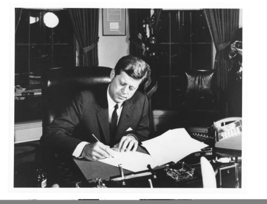 JFK Signing the Proclamation for the Interdiction of the Delivery of Offensive Weapons to Cuba