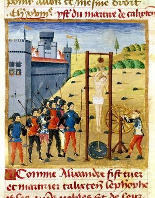 Ms 1335 f.167v How Alexander the Great Killed and Martyred Calixten Cephobe and the other Nobles before Caroutz