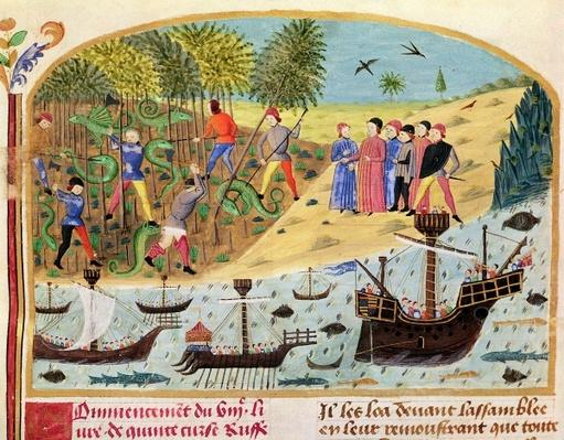 Ms 1335 f.180 The Flotilla of Alexander the Great, from 'Vie d'Alexandre le Grand