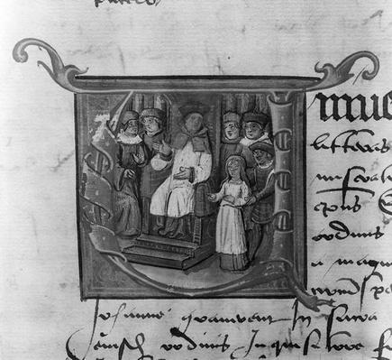 Ms Lat 5969 Historiated initial 'A' depicting the trial of Joan of Arc