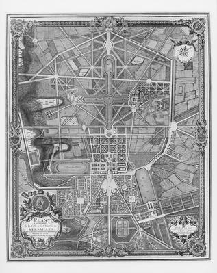 General plan of the town and Chateau of Versailles, with its gardens, forests and fountains