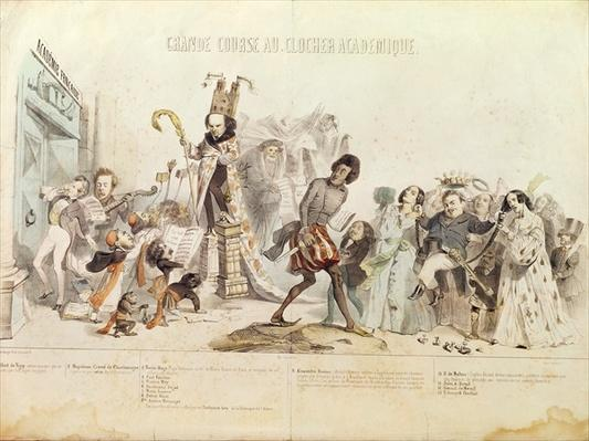 The Great Academic Competition, caricature of the Academie Francaise