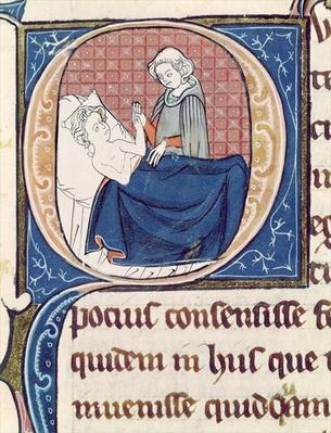 Ms 1003 f.185v Examining a Patient, from 'Oeuvres de Galien' by Claudius Galenus