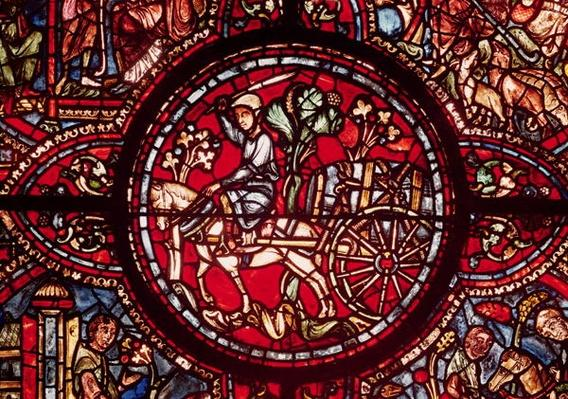 Window depicting a wine merchant transporting a barrel of wine in a cart, from 'Scenes from the Life of St. Lubin'