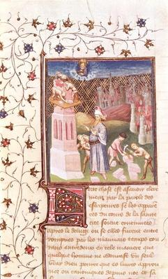 Ms 55 t f.111v Nimrod Overseeing the Building of the Tower of Babel, from 'La Cite de Dieu' by St. Augustine, translated by Raoul de Presles