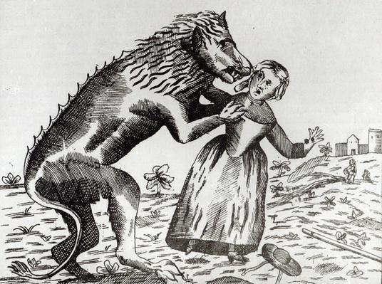 The Beast of Gevaudan Attacking a Young Girl