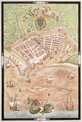 Fascimile of a Plan of Le Havre in 1583, from 'Les Premiers Oeuvres de Jacques Devaulx Pillote en la Marine'