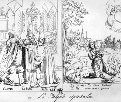 Caricature depicting a Spiritual Dispute between Pope Leo X