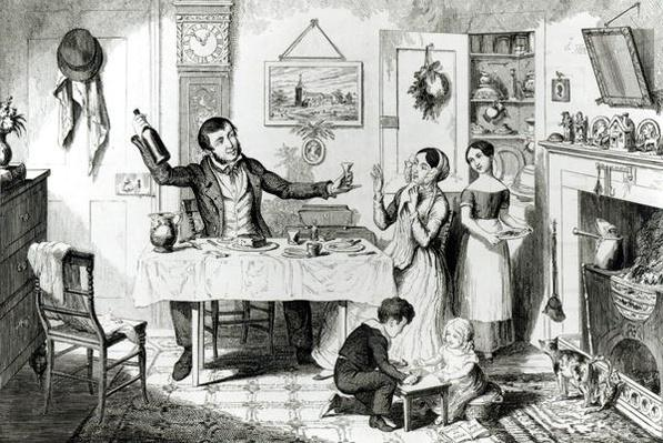 The Bottle, Plate I, The bottle is produced for the first time: the husband induces his wife 'Just to take a drop', 1847,