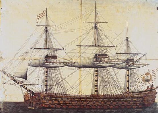 The Ship 'La Ville de Paris' launched at the port of Rochefort, 19th January 1760