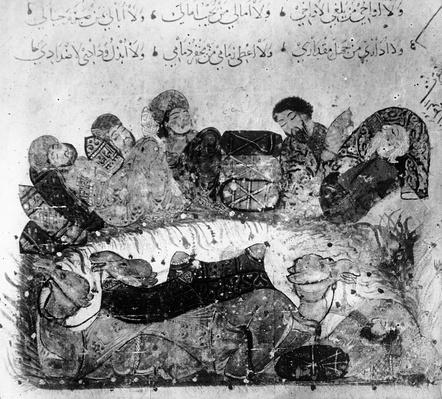 Ms.arabe 5847 fol.11 A Caravan Rest, from 'Le Maqamat de al'Hariri' by Yaya ibn Mahmud al-Wasiti
