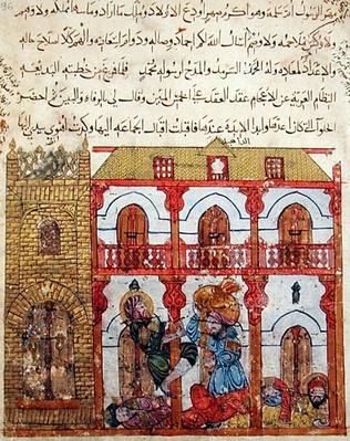 Ms c-23 f.99a Thief Taking his Loot, from 'The Maqamat'