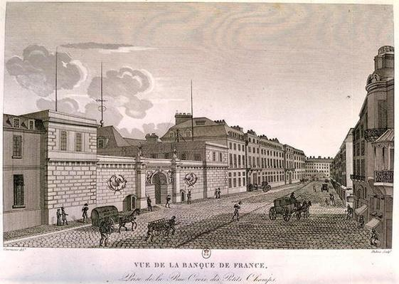The Bank of France from Rue Croix-Petits-Champs, engraved by Eugene Dubois, 1800