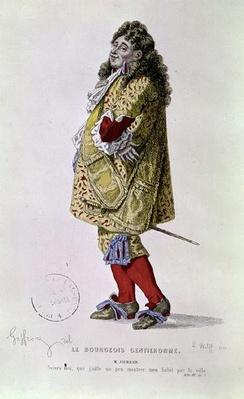 'Follow me, that I might a little show my dress about the town', illustration of Monsieur Jourdain from Act III Scene 1 of 'The Bourgeois Gentleman' by Moliere