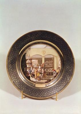 Plate depicting the Sevres workshop during the directorship of Alexandre Brogniart