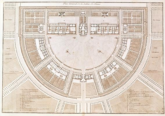 General plan of the salt works in the 'ideal city' of Chaux, engraved by Louis Sellier