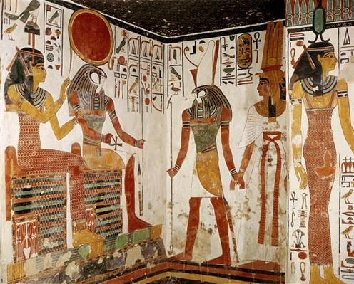 Nefertari is brought before the god Re-Horakhty by Horus, from the Tomb of Nefertari, New Kingdom