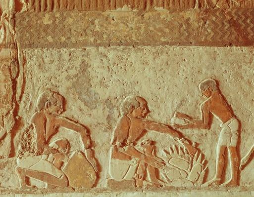 Relief depicting the making and baking of bread, Old Kingdom