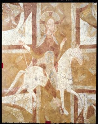 Christ on a White Horse, from the ceiling of the crypt