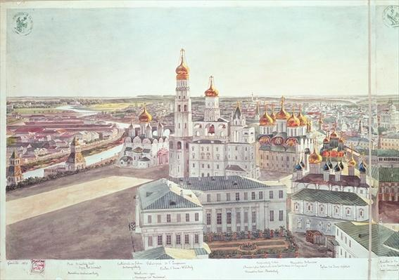 Panorama of Moscow, detail of the Kremlin cathedrals, 1819