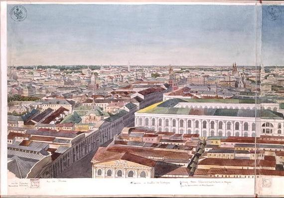 Panorama of Moscow, depicting the former market square and Stock Exchange in Gostiny Dvor, 1819