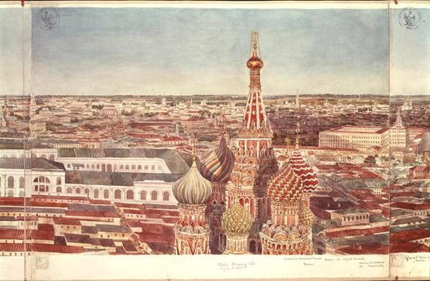 Panorama of Moscow, depicting St. Basil's Cathedral, 1819