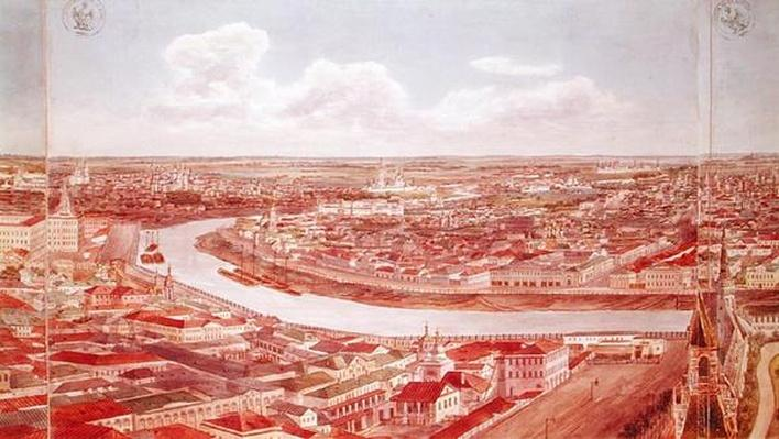 Panorama of Moscow, depicting the Moskva River, 1819