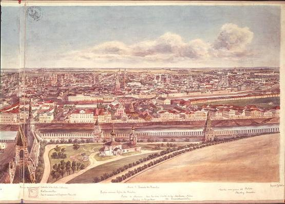 Panorama of Moscow, depicting the Kremlin Walls and the Moskva River, 1819