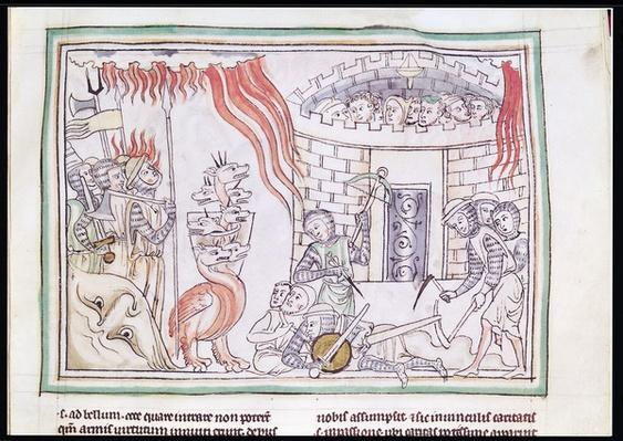 Ms 422 Fol.95r The Celestial Fire Destroying the Army of Satan, scene from the Apocalypse