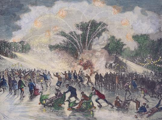 Ice-skating party at the Bois de Boulogne, Paris, engraved by Charles Maurand