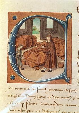Detail of a historiated initial with an illustration of a vintner at work, from the 'Register of the Abbey of Saint-Germain-des-Pres'