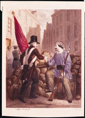 A Worker Sharing his Bread with a Student Carrying a Red Flag, from 'Les Journees de Fevrier', engraved by H. Jannin