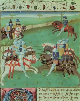 Ms 527 f.5v Teaching Knights to Joust, from 'Roman du Saint Graal'