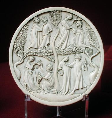 Mirror case depicting courtly scenes, c.1320-30