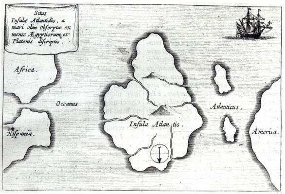 Map of Atlantis, from 'Mundus Subterraneus', 1665-68