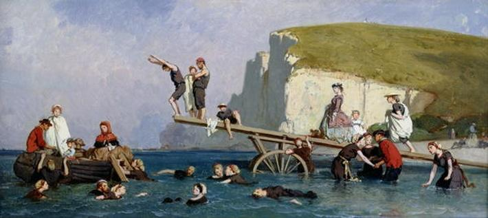 Bathing at Etretat