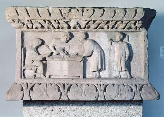 Relief depicting a tax collecting scene