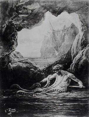 Gilliatt struggles with the giant octopus, illustration from 'Les Travailleurs de la Mer' by Victor Hugo