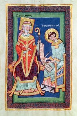 Ms 501 Fol.58 St. Amand returning a scroll to St. Baudemond, from the 'Life and Miracles of St. Amand' by St. Baudemond