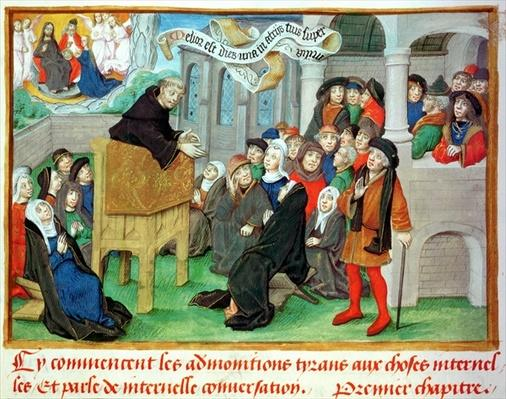 Ms.230 fol.57 Monk Preaching on Imitation, from 'Sermons sur la Passion et Traites Divers' by Jean de Gerson
