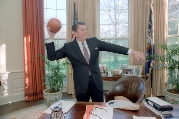 President Reagan Throwing a Football in the Oval Office