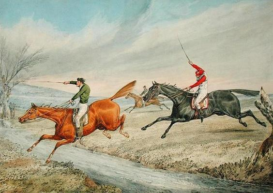 Steeplechasing: Three Riders Taking a Brook