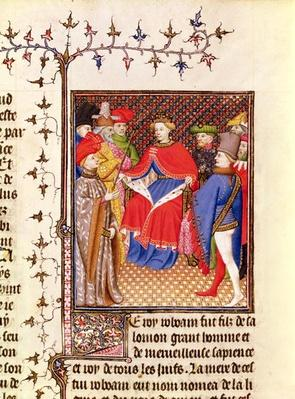 Ms 5193 Fol.52r Rosane replies to the envoys from the people, from the Jean Sans Peur edition of 'De Casibus virorum illustrarium' by Giovanni Boccaccio